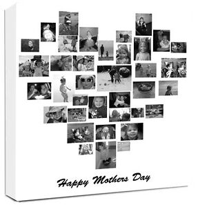 Photo Collage Canvas Heart Shape Family Tree Collage Ebay