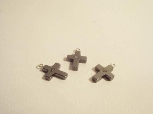 HEMP32 3 x Hematite Cross Pendant Diamante