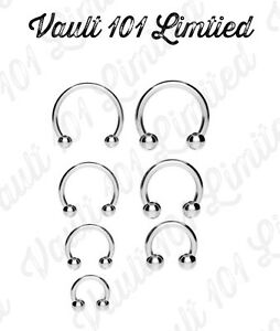 Surgical-Steel-Horseshoe-Bar-Lip-Nose-Septum-Ear-Ring-Various-Sizes-available