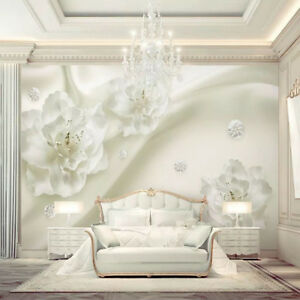 Details About 3d White Flower Floral Wall Mural Wallpaper Living Room Bedroom Inside Wall