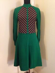 True Vintage 1960s Wool Green Dress By Jersey Masters