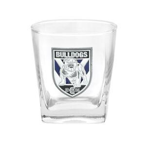 NRL-Drink-Glass-Set-Metal-Badged-Logo-Canterbury-Bulldogs-Set-Of-Two