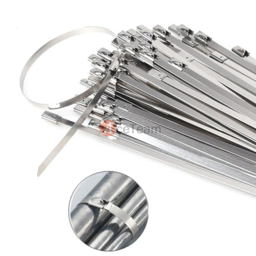 """100pcs 12/"""" Strong Stainless Steel Metal Wrap Straps Self Locking Cable Ties"""