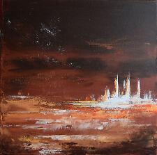 TABLEAU SIGNÉ, paysage abstrait, peinture de H.ZEN - DERNIERE FRONTIERE- 40x40cm