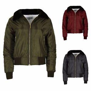 New-Ladies-Girls-Sherpa-Fleece-Fur-Collar-Lined-MA1-Bomber-Biker-Winter-Jacket