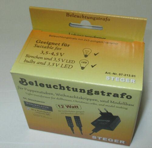Kahlert Steger Beleuchtungs-Trafo mit 2 Verteiler  Puppenhäuser//Krippen 12 VA