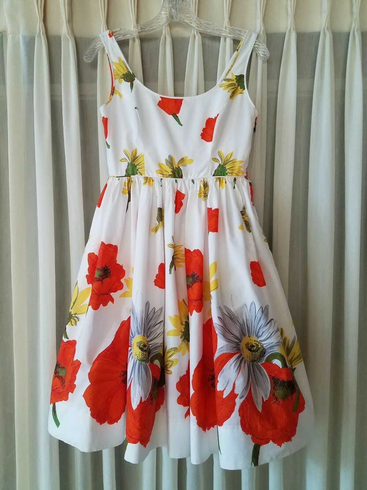 Anthropologie Moulinette Soeurs Homegrown Poppies Fit Flare Dress 0 XS EUC