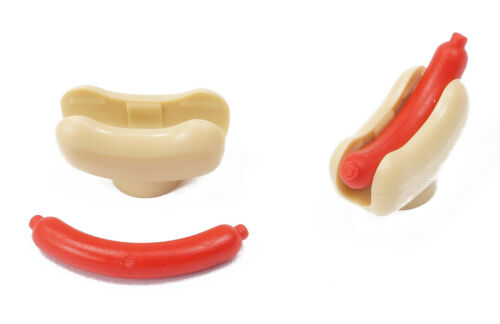 e9 LEGO 2 x Hotdog mit Brötchen beige und Wurst rot 25386 33078 NEUWARE