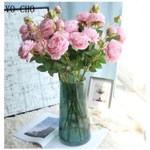 Rosas-Peonia-Artificial-Falso-Flores-de-Seda-Blanco-Nupcial-Boda-Ramo-Decoracion-del-hogar