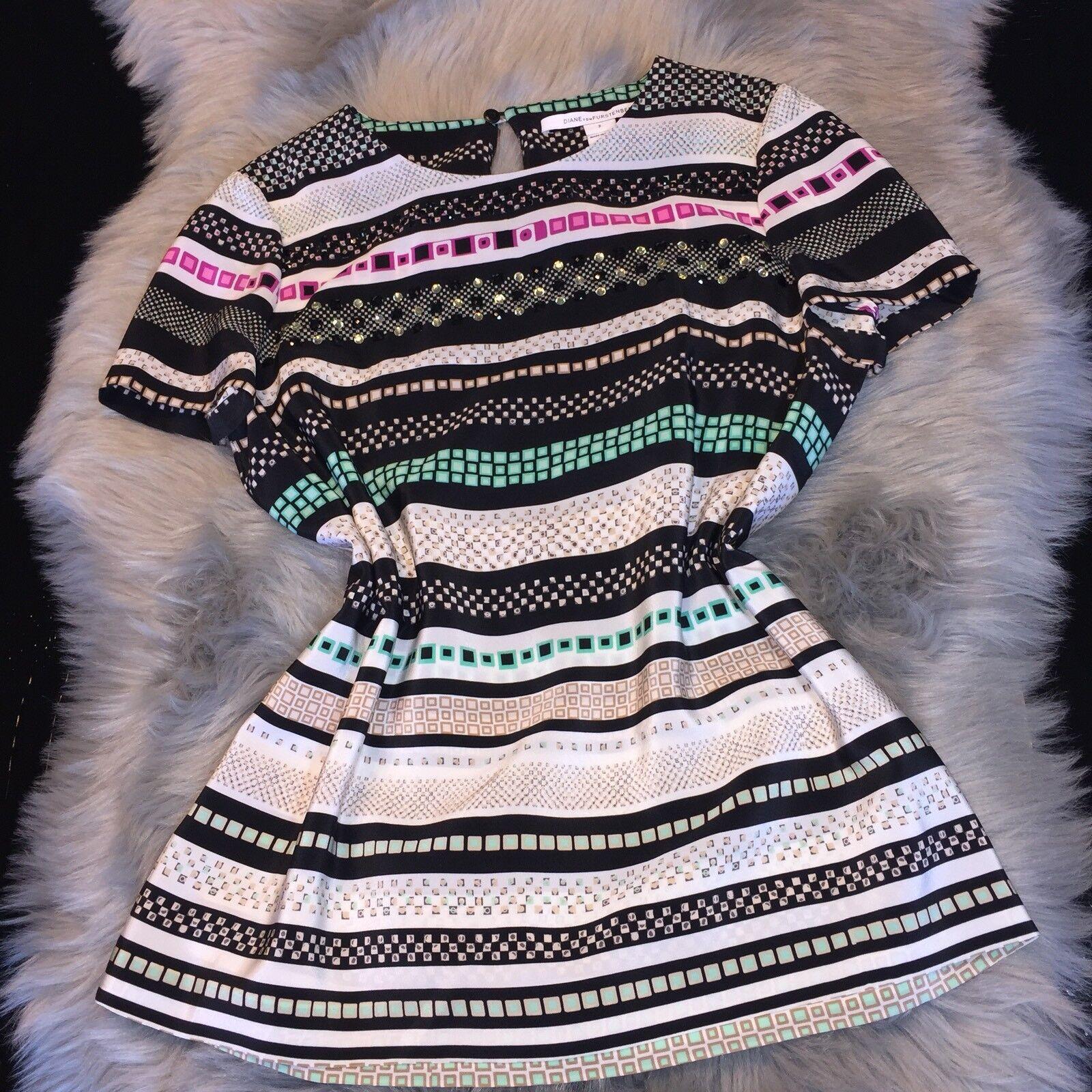 DVF Diane Von Furstenberg Multicolord Studded Silk Blouse Top Sz 2 NICE