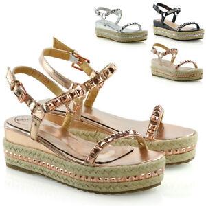 New-Womens-Platform-Sandals-Studs-Ankle-Strap-Wedges-Espadrille-Summer-Shoes