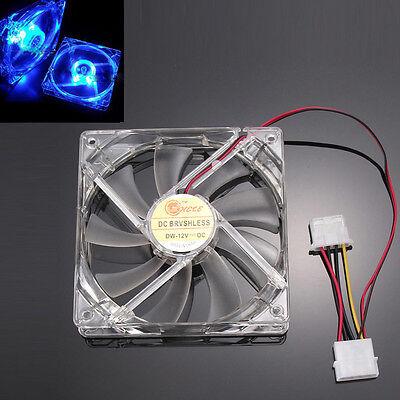 Blue Quad 4-LED Light Neon Clear 120mm PC Computer Case Cooling Fan Mod FAN 4pin