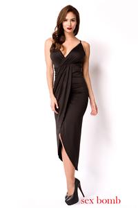 Sexy ABITO LUNGO black taglia S,M,L,XL (40,42,44,46) scollato vestito GLAMOUR