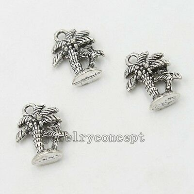 20x Antique Silver Tone Coconut Tree Charms Alloy Pendants Findings  New Craft J