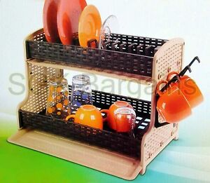 2-Tier-Plastic-Dish-Drainer-2-Drip-Trays-Glass-Plates-Rack-Kitchen-GIFT-CS01