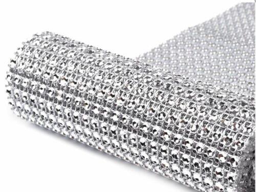 0,5-2 Meter Dekoband Strassband anthrazit silber 115 mm 24 Reihen Zierband