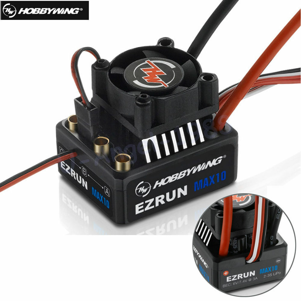 Hobbywing EZRUN MAX10 60A Waterproof Brushless ESC With 6V 7.4V BEC 2-3S 1 10