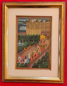 Hand-Painted-Maharajah-Procession-Miniature-Painting-India-Artwork-Framed-Paper