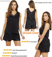 Women's Pajama Short Set With Satin Trim And Embroidery,1x Plus,black,dreamcrest