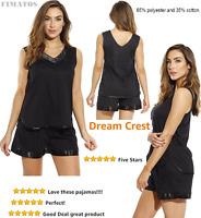 Women's Pajama Short Set With Satin Trim And Embroidery,medium,black,dreamcrest