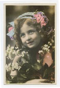 c 1907 Child Children CUTE LITTLE GIRL Long Curls Hair photo postcard