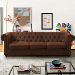 Prime Details About Large 2 3 Seater Luxury Vintage Distressed Leather Sofa Settee Sofas Suite Brown Pdpeps Interior Chair Design Pdpepsorg