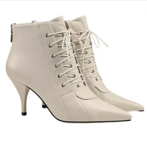 Ankle Boots Lace Up Kitten High Heels Solid Pointy Toe Women OL Shoes 35//45 L