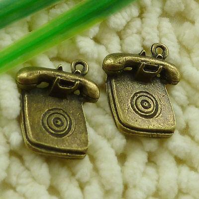 free ship 72 pcs Antique bronze telephone set charms 24x20mm #3331