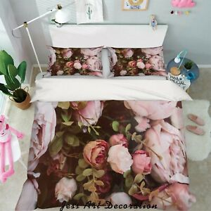 3D-Pink-Rose-Quilt-Cover-Duvet-Cover-Comforter-Cover-Single-Queen-4