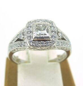 64-ct-tw-Diamonds-Round-amp-Princess-Cut-14k-White-Gold-Engagement-Ring-Sz-7