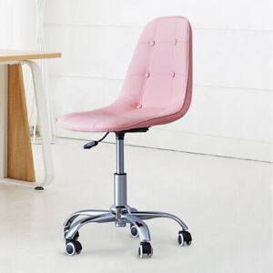 Pink Quilted Office Swivel Chair with Castor Wheels and Adjustable Seat Home Kid