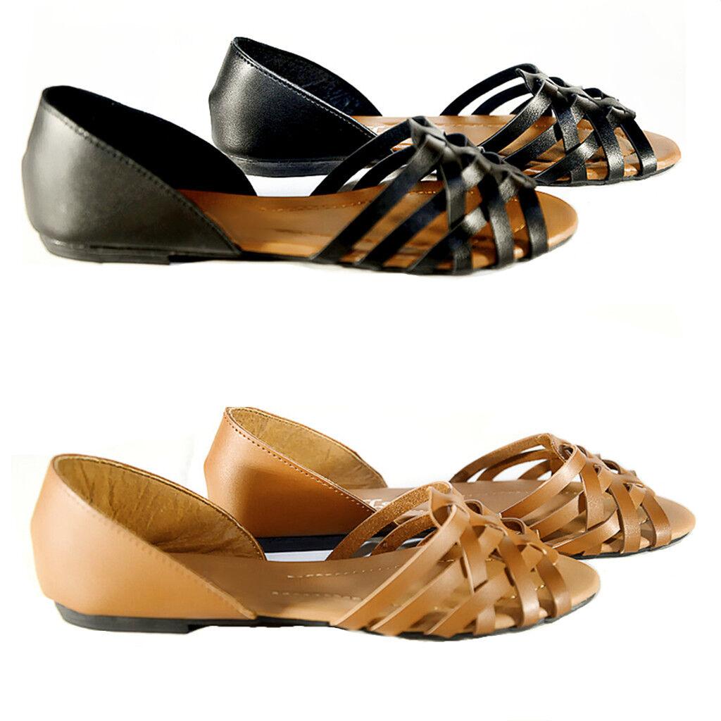 New Women  Summer Black Gladiator Strappy Flat Sandals Black Summer ,Tan 028f49