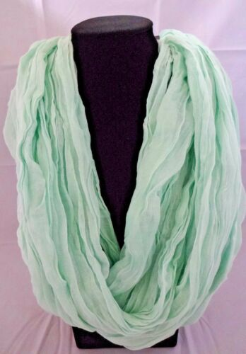 Mint Green Infinity Scarf Crinkled Lightweight Fabric Single Or Double LRNoop