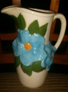 Vintage 1960's Handpainted Ceramic Floral Pitcher