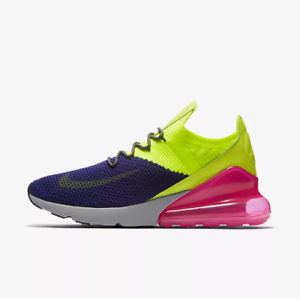 Regency Purple//Volt-Pink New Nike Men/'s Air Max 270 Flyknit Shoes AO1023-501