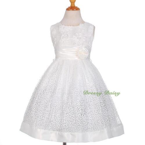 Eye-Catching Silver Dots Rosette Bow Wedding Flower Dress Girl Size 3-10 FG278