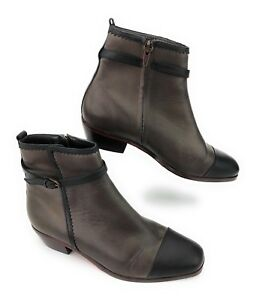 53e94ab64df Details about Wolverine 1000 Mile Brown Black Cap Toe Leather Side Zip  Ankle Boot Women's 7 M