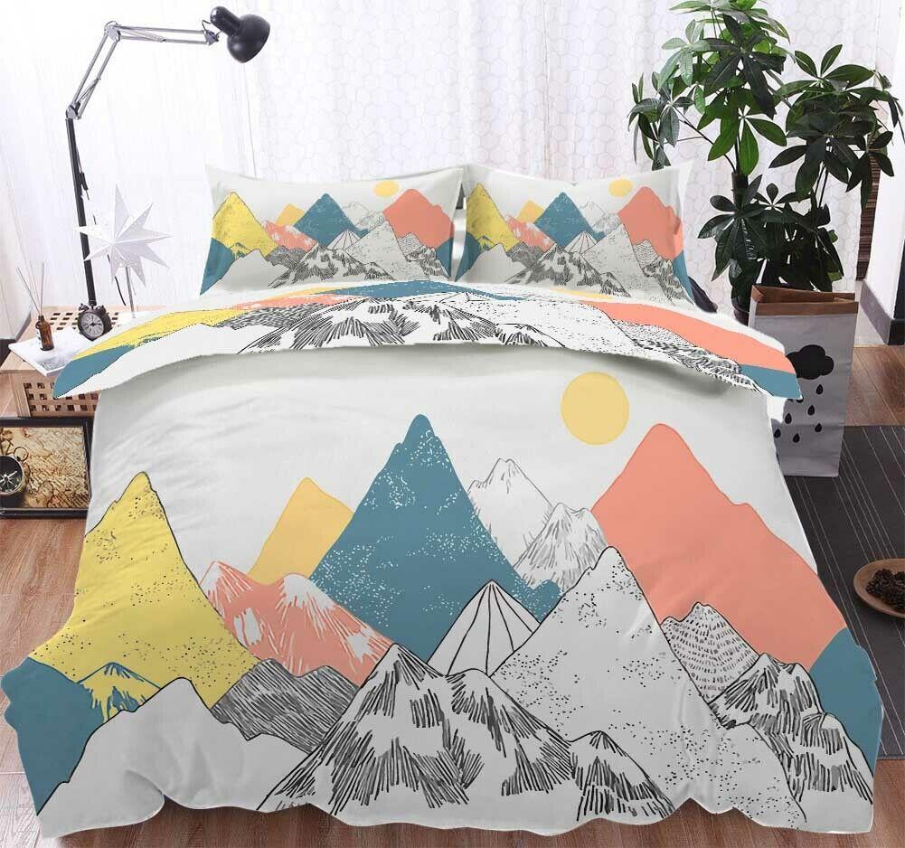 Mountainous Peaks 3D Printing Duvet Quilt Doona Covers Pillow Case Bedding Sets