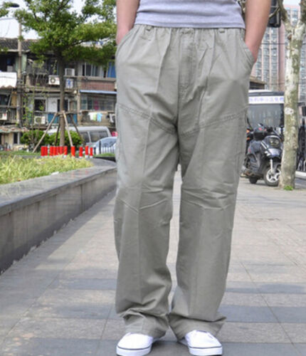 Fashion Mens Wide-Leg Trousers Cargos Plus Size Overalls Casual Sport Pants New