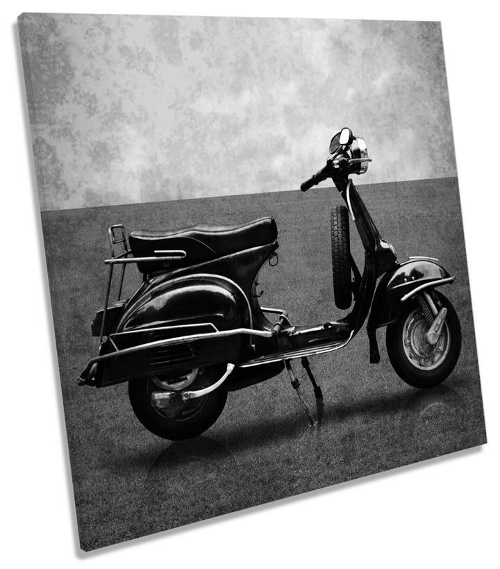 VINTAGE SCOOTER B&W CANVAS Wall Art quadrato foto stampa