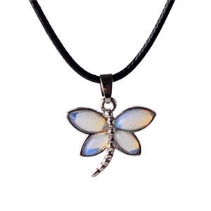 Natural Quartz Crystal Opal Gemstone Butterfly Chakra Healing Pendant Necklace