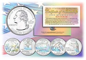 2008-US-Statehood-Quarters-HOLOGRAM-5-Coin-Complete-Set-w-Capsules-amp-COA