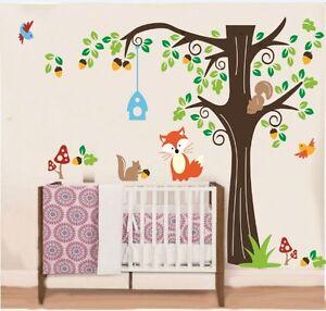Wandtattoo Wandsticker Eichhornchen Tiere Vogel Wandaufkleber Kinderzimmer 8 Ebay