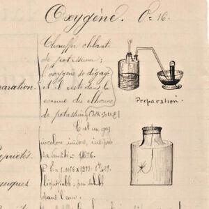 c1890-science-manuscript-document-CHEMISTRY-OXYGEN-handmade-illustration-drawing
