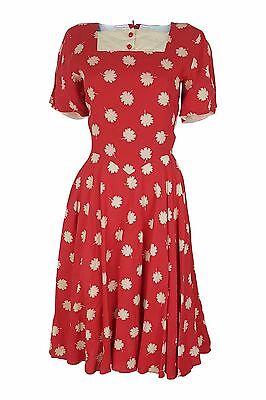 * Valentino * Vintage Miss V Motivo Floreale Rosso Cotone Skater Dress (38)-mostra Il Titolo Originale