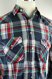 Vintage-Saugatuck-Dry-Goods-Mens-Western-Shirt-Snap-Button-Plaid-Size-M