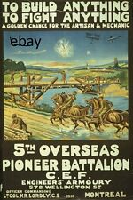 WW1 RECRUITING POSTER CANADIAN 5TH OVERSEAS BATTN MONTREAL NEW A4 PRINT CANADA