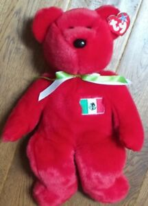Large Ty red bear Osito beanie original buddy baby 15