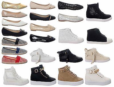 Womens Casual Shoes Pumps Hi Top Trainers Ladies Summer Footwear UK3-8