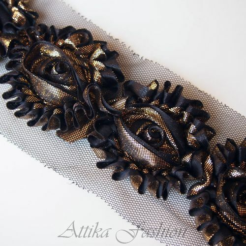 SOPHISTICATED Black Shimmering Gold ROSETTE TRIM 1y for Boutique Haute Couture